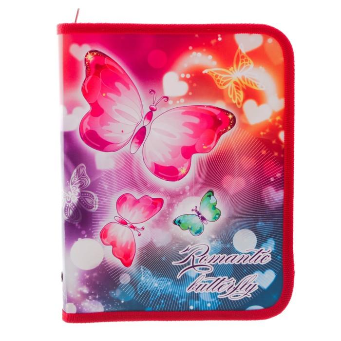 Папка для тетрадей А5, молния вокруг, пластиковая «Бабочки»