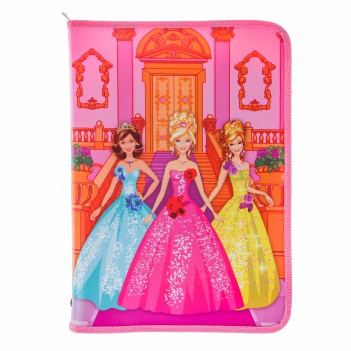 """Папка для труда А4, молния вокруг, откидная планка, цветной пластик """"Три принцессы"""""""