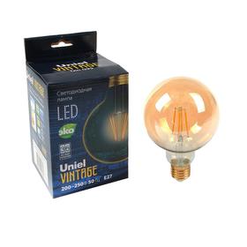 Лампа светодиодная Uniel Vintage, G95, E27, 6 Вт, 230 В, шар, золотистая колба