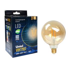 Лампа светодиодная Uniel Vintage, G125, 8 Вт, E27, 230 В, шар, золотистая колба