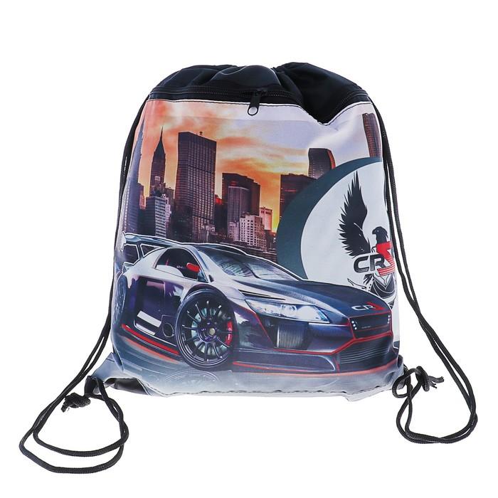 Мешок для обуви 415х340 мм «Чёрное авто», с карманом, на молнии, светоотражающая полоса