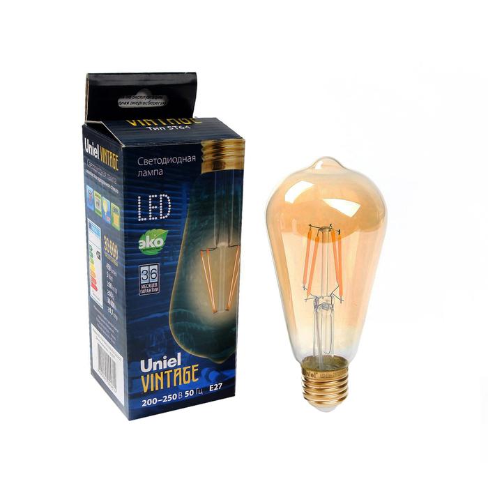 Лампа светодиодная Uniel Vintage, ST64, E27, 5 Вт, 230 В, конус, золотистая колба