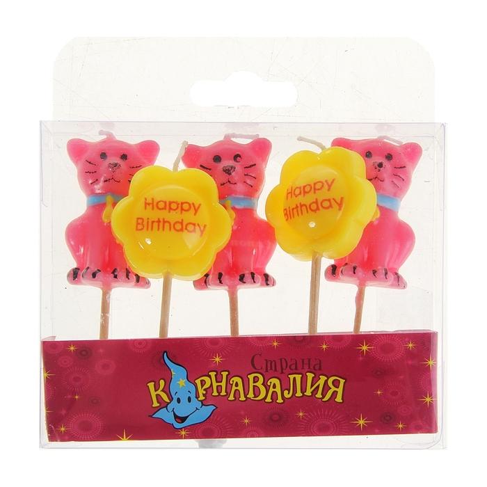 """Свечи восковые для торта """"С Днем рождения - цветочки и киски"""" (набор 5 шт)"""