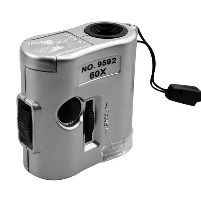 Микроскоп Kromatech 60x мини, с подсветкой (1 LED) и ультрафиолетом (9592)
