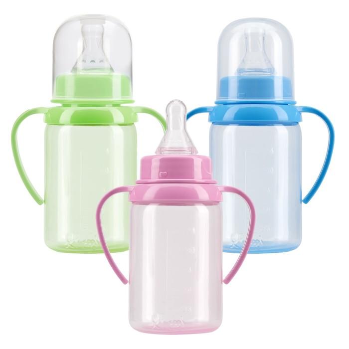 Бутылочка для кормления с ручками, цветная, 125 мл, от 6 мес., МИКС
