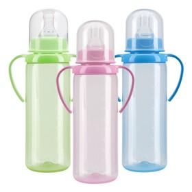 Бутылочка для кормления с ручками, цветная, 250 мл, от 6 мес., МИКС