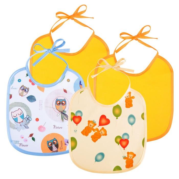 Слюнявчик непромокаемый маленького размера, на завязках, набор 2 шт., цвета МИКС