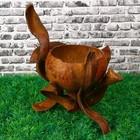 Цветочница «Бутон», одноместная, 12х12х22 см, лянь, кокосовая скорлупа