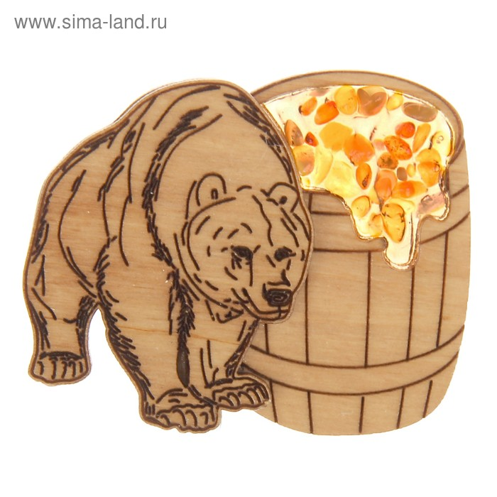 """Магнит дерево с янтарем """"Медведь 2"""" 5,5х6 см"""