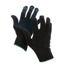 Gloves, cotton, knit 7 class 3 thread, size 9, with PVC dots, black