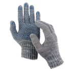 Перчатки, х/б, вязка 7 класс, 3 нити, размер 9, с ПВХ точками, серые