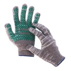Перчатки, х/б, вязка 10 класс, 6 нитей, размер 9, с ПВХ протектором, серые, Greengo