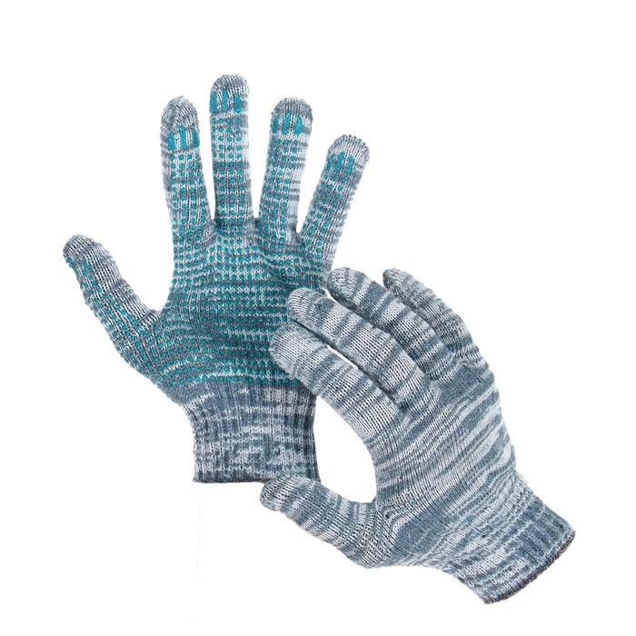 Перчатки, х/б, вязка 10 класс, 4 нити, размер 9, с ПВХ протектором, серые, Greengo