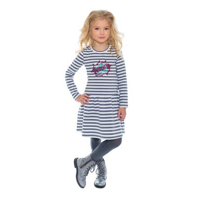 Платье для девочек, рост 98 см, цвет серый/белый