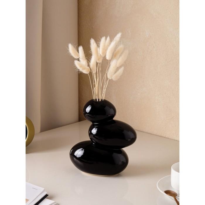 """Ваза """"Сбалансированные камни"""" чёрные"""