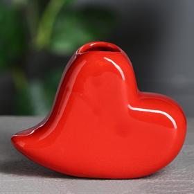 """Ваза настольная """"Сердце"""" красное, 9 см, керамика в Донецке"""