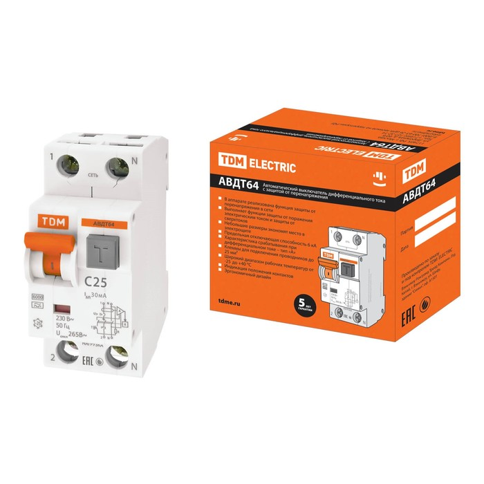Дифференциальный автомат TDM АВДТ 64, C25, 30 мА, SQ0205-0006