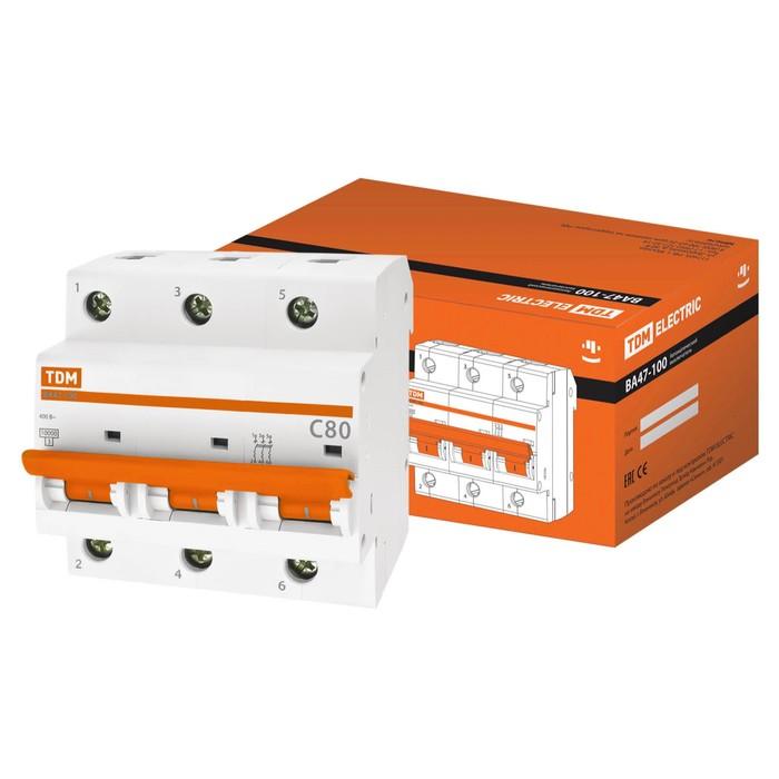 Выключатель автоматический TDM ВА47-100, 3Р, 80 А, 10 кА, характеристика С, SQ0207-0076