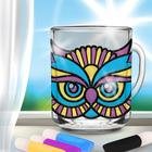"""Stained glass painting mug """"Owl"""""""