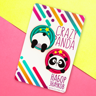"""Icon on a substrate """"Crazy panda"""""""