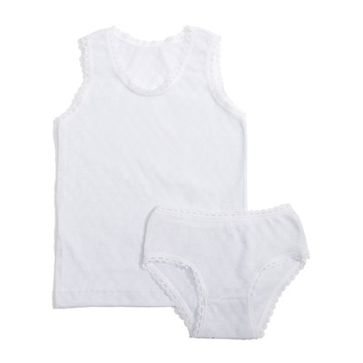 Комплект для девочки 124, цвет белый, рост 80 см