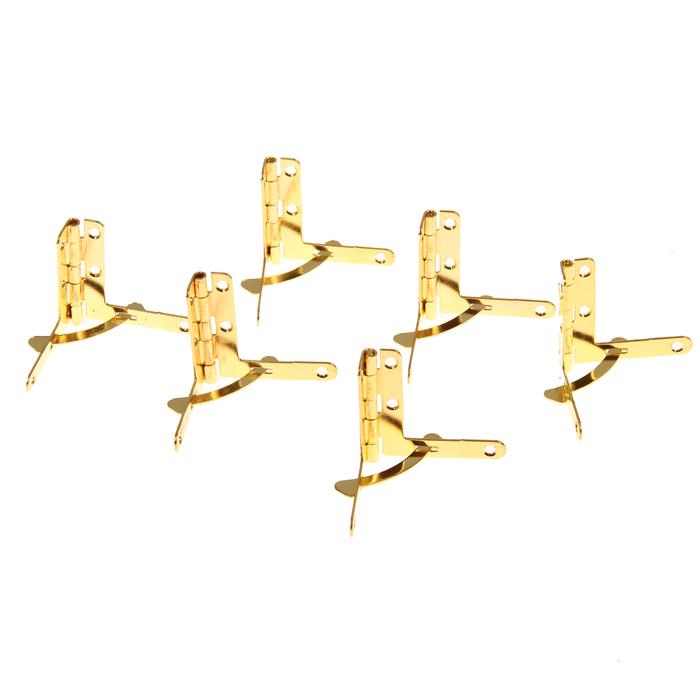 Петля с ограничителем металл (набор 6 шт) золото 3,5х3 см
