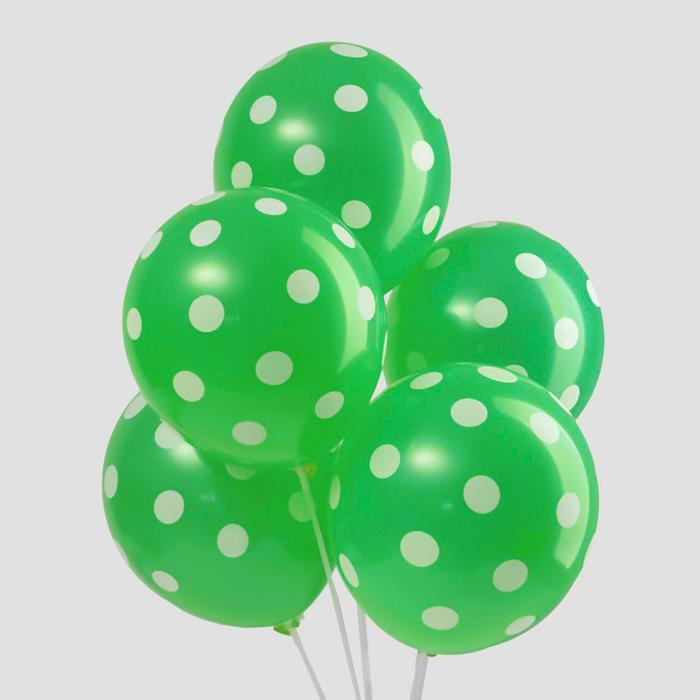 """Шар латексный 12"""" """"Горох"""", набор 5 шт., цвет зелёный - фото 241893618"""
