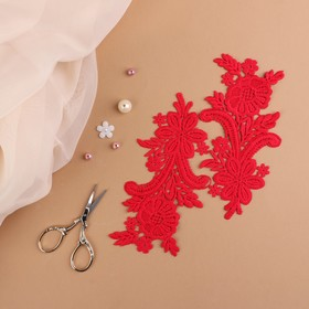 "Sew-on appliques ""Leitza"", 18 × 8.5 cm, a pair, color red"