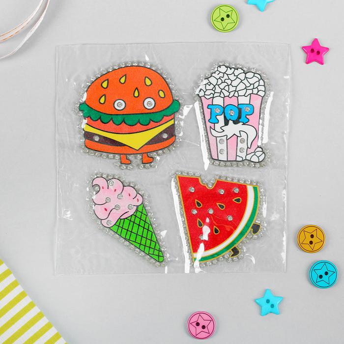 Термоаппликация со стразами «Арбуз, попкорн, бургер, мороженка», 5 × 5 см, 4 шт на листе, цвет МИКС