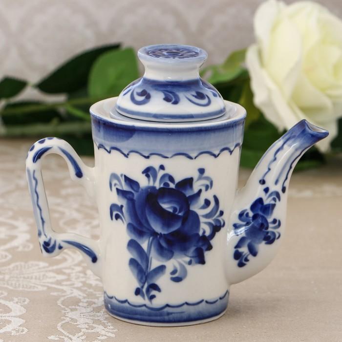 Чайник «Гранёный», H=14 см, с ситечком, гжель