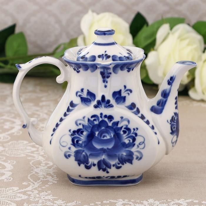 Чайник «Знакомство», H=15 см, гжель