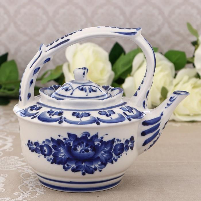 Чайник «Ностальгия», H=18,5 см, гжель