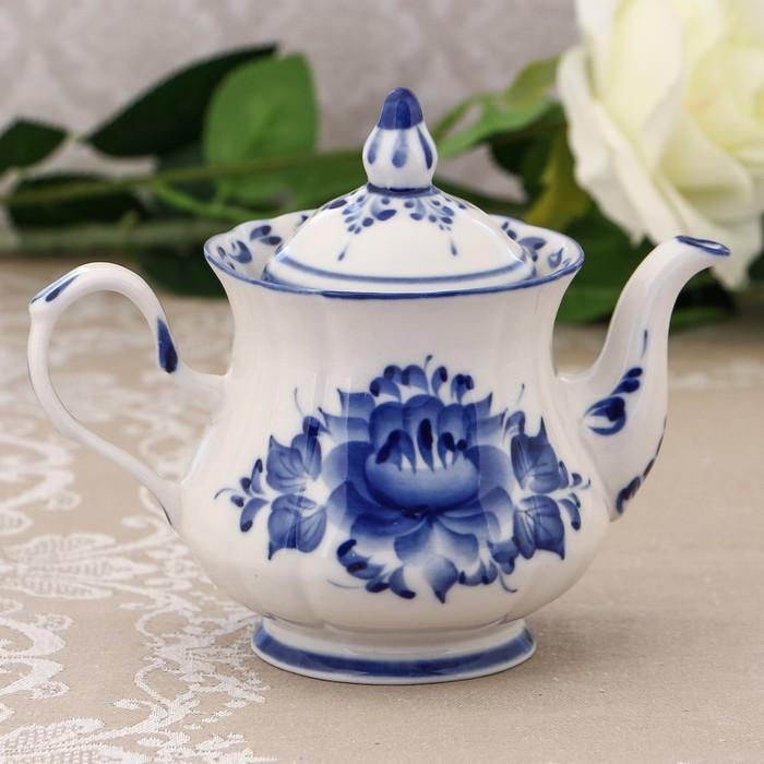 Чайник «Цветы», H=14 см, заварной, гжель