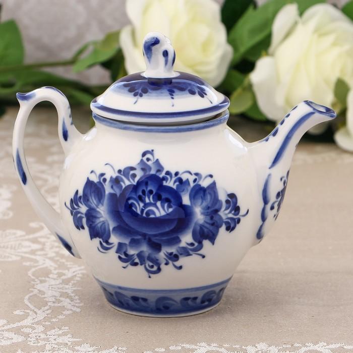 Чайник «Утро», 0,5 л, 17,5х15 см, гжель