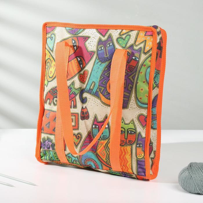 Сумка для рукоделия «Коты», 35 × 30 × 7 см, разноцветный