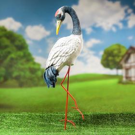 """Садовая фигура """"Журавль"""", белая, полистоун, 70 см, ноги микс"""