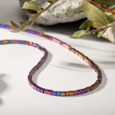 "Beads ""Hematite"" cube, color rosy-violet, 45cm"