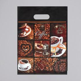 """Пакет """"Кофе"""", полиэтиленовый с вырубной ручкой, 31 х 40 см, 60 мкм"""