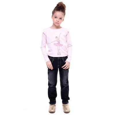 Брюки джинсовые для девочки, рост 98-104 см, цвет чёрный