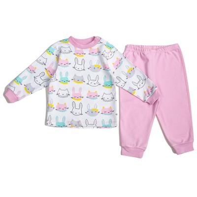 Пижама c манжетами  для девочки, рост 92 см, цвет Зайки-розовый U070111Y92_М