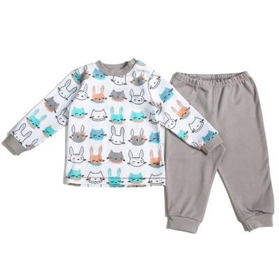 Пижама c манжетами  для мальчика, рост 68 см, цвет Зайки-серый U070111Y68_М