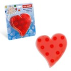 Набор мини-ковриков для ванной 6 шт, «Сердце», на присосах, цвет красный