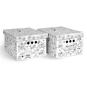 "Короб-раскраска 2 шт ""Птички"" 25х33х18,5 см, картонный"