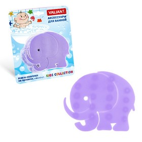 Набор мини-ковриков для ванной 6 шт, «Мамонтёнок», на присосах, цвет фиолетовый