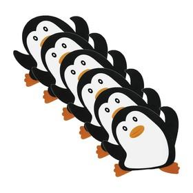 Набор мини-ковриков для ванной 6 шт, «Пингвин», на присосах, 13 х 13 см