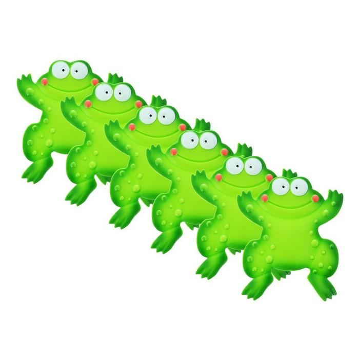 Набор мини-ковриков для ванной 6 шт, «Лягушенок», на присосах, цвет зелёный