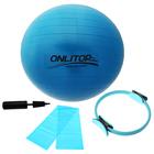 Набор для фитнеса (кольцо для пилатеса+эспандер+мяч гимнаст+насос), цвет синий