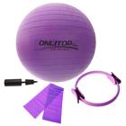 Набор для фитнеса (кольцо для пилатеса+эспандер+мяч гимнаст+насос), цвет фиолетовый