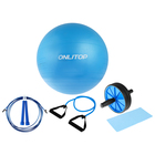 Набор для фитнеса (упор+эспандер+скакалка+мяч гимнаст), цвет синий