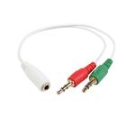 Кабель-переходник аудио Cablexpert CCA-418W,Jack3.5мм(4pin)(f)-2хJack(3pin)(m), 0.2 м, белый 3093752